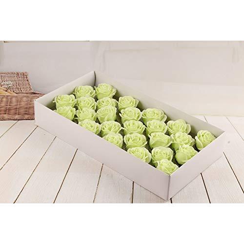 PROOY 25 Rosas jabón Flores, Planta Aceite Esencial Rosa pétalos Artificiales Rosa Flor eterna Caja de Regalo, Boda cumpleaños Aniversario Vacaciones Regalo romántico,Lightgreen