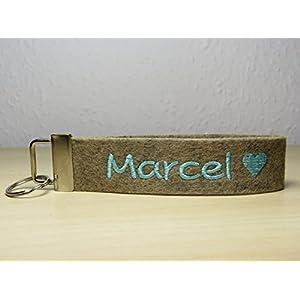 Schlüsselanhänger mit Namen oder Spruch - individuell bestickt - Schlüsselband - Love - Geschenk - Herzchen - Glücksbringer - Valentinstag