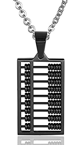 Men Mini Abacus 20MMx12MM Stainless Steel Pendant Necklace Black Aooaz Jewelry