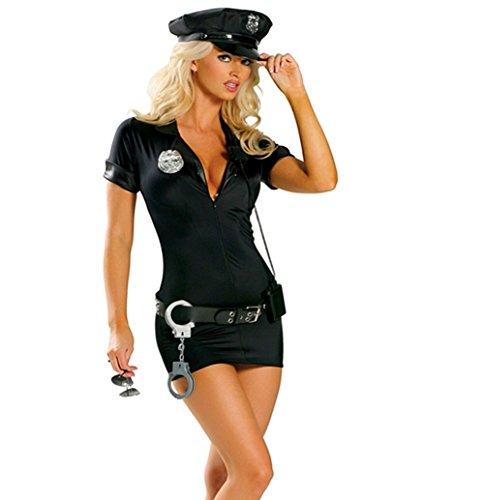 stin Polizeikostüm Cop Schwarz Gr. S-XL (Cop Kostüm Für Frauen)