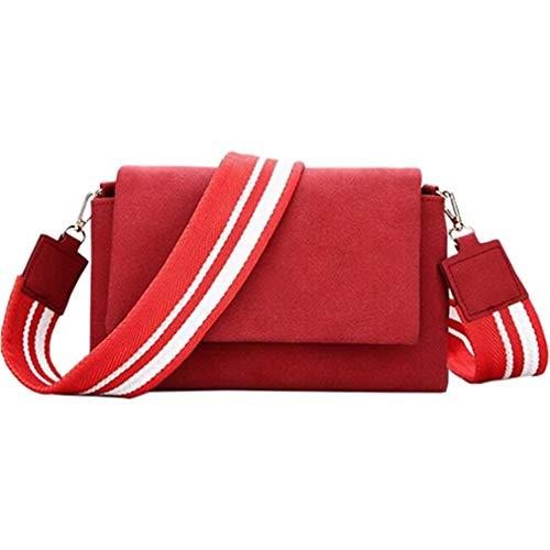 Umhängetasche Nubukleder Damen Handtasche Red 24x8x13cm