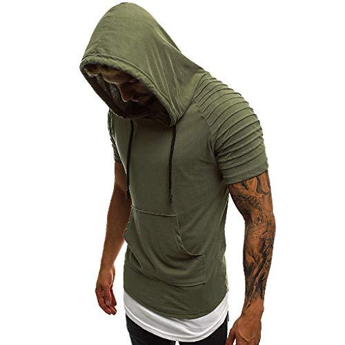 T-Shirt Tops Herren Herrenmode Lässig Schlank Mit Kapuze Rundkragen Plissee Kurzarm Top Shirt Armeegrün XL