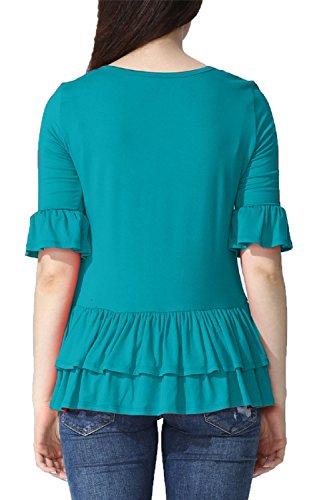 YACUN Donne Sanno Mezza Manica Peplum Maglietta Casual Top Sottile Camicia Green