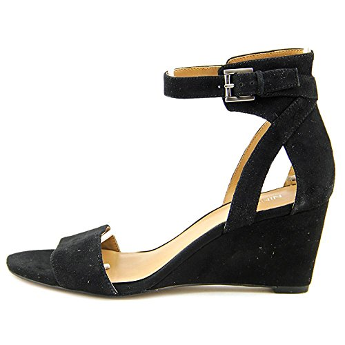 Nine West Nobody Daim Sandales Compensés Black