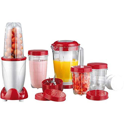 Cuisine Edition Mr. Magic Standmixer, 18-tlg, rot/silber, 400 Watt, Smoothie-Maker, Küchenmaschine