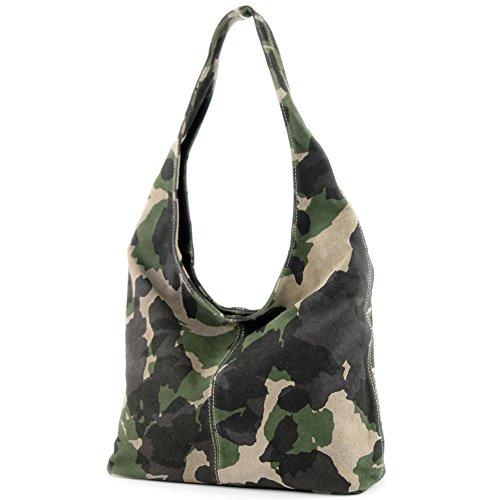 modamoda de - T150 - ital Schultertasche aus Leder Wildleder, Farbe:Camouflage Grün -