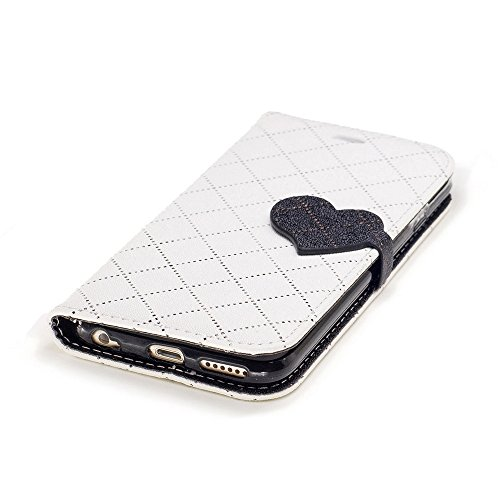 Nutbro iPhone 6 Case,Synthetic Leather Heart-shaped Magnet Clasp Closure Folio Flip with Card Slots Wrist Strip Wallet Stand Cover for iPhone 6/6S BF-iPhone-6-65