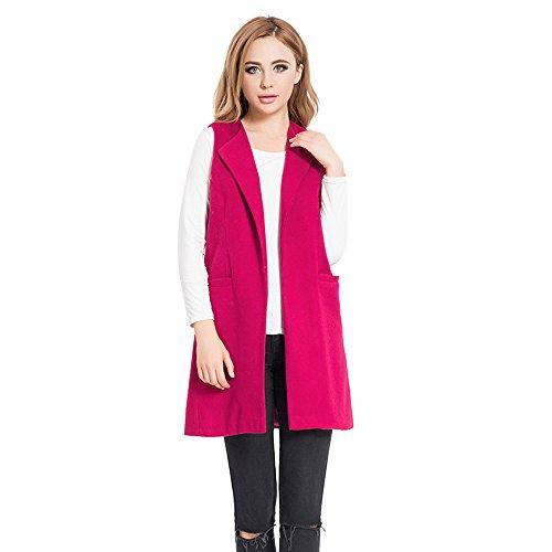 VEMOW Herbst Winter Elegant Damen Womens Solide Sleeveless Weste Weste Gilet Jacke Mantel Parka Lässige Tägliche Lose Outwear Strickjacke(Hot Pink, EU-48/CN-3XL)