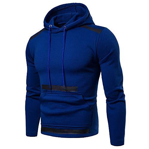 SSUDADY Herren Patchwork Kapuzenpullover Langarmshirt mit Kapuze und Tasche Sweater Pullover T-Shirt Langarm Sweatshirt Oberteil Casual Tops Slim Fit Bluse M-3XL (Ralph Lauren Polo 1 4 Pullover)