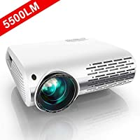 "Projector, YABER 5500 Lumens 1080P HD LED Projector With 4D ±50° Electronic Keystone Correction (1920 x 1080) Support 4K 300"" Home / Professional Projector For Iphone/Smartphone/PC/TV Box/Laptop/PS4"