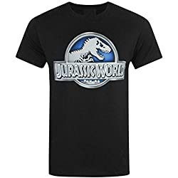 Jurassic World (Jurassic Park) - Metálico Logo - Camiseta Oficial Hombre - Negro, Medium
