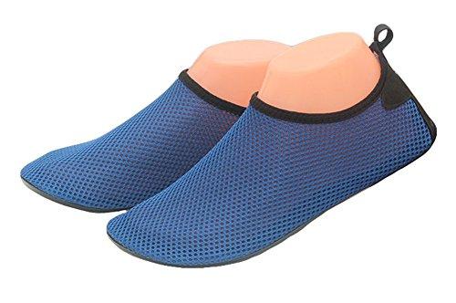 Fortuning's JDS Männer Frauen Wasser Schuhe Weich Barfuß schnell trocken Aqua Turnschuhe Haut Schuhe für Strand Schwimmbad Tauchen Yoga Übung Dunkelblau