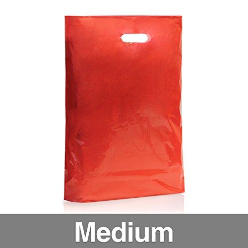 Confezione di 500colore rosso sacchetti di plastica con maniglia Medium Red