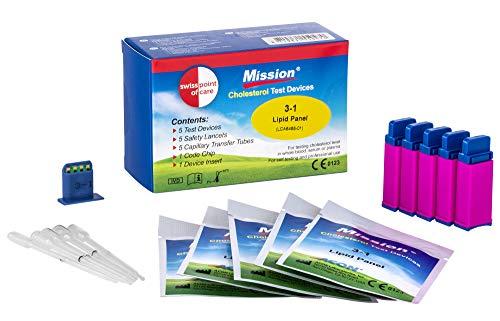 Swiss Point Of Care 3 in 1 Cholesterin Teststreifen und weiteres Messzubehör | 5 Teststreifen, inkl. 5 Kapillar Transferschläuche, 1 Codechip, 1 Geräteeinsatz
