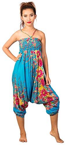 Lofbaz Damen Haremshose Jumpsuit mit Kordelzug Schöne gedruckt Floral 1 Blau