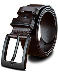 LUCIANO Top Italie cuir de vachette véritable ceinture en cuir noir et brun pour  hommes Ceintures ecb26d2908f