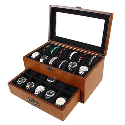WCX Uhren Schmuckkasten Uhr Schmuck Display Aufbewahrungsbox Hölzerner Schlitz 22 Mit Glasabdeckung Für Männer Oder Frauen (Size : 36x21x17cm)