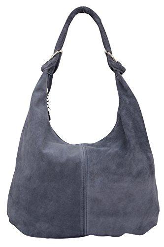 AMBRA Moda Damen Wildleder Schultertasch Damen Handtasche Hobo-Bags Shopper Beuteltaschen Veloursleder Suede Ledertasche DIN-A4 42cm x 35cmx 4cm WL803 (Jeansgrau)