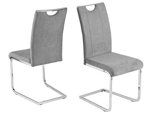 möbelando Schwingstuhl Esszimmerstuhl Stuhl-Set Küchenstuhl Stuhl Southend I (4-er Set) Grau