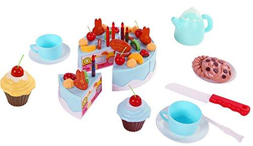 Hollwald Jeu du Gâteau d'anniversaire en Plastique Jeux de Dimulation Jouets d'Imitation Pou Garçon et Fille Éducatif 3 Ans au Moins (bleu)