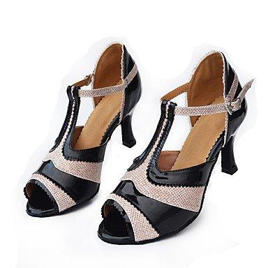 Scarpe da ballo-Personalizzabile-Da donna-Balli latino-americani / Moderno-Quadrato-Finta pelle-Nero / Rosa Pink