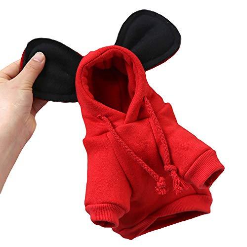 �m Hund Kleidung Pullover mit Kapuze Mickey Mouse Ohren Baumwolle lässig für den täglichen Partyurlaub Fotoaufnahmen Frühling Herbst Dünnschliff,MickeyMouseRed,S ()