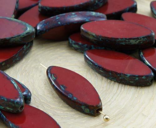 6pcs Picasso Brun Rouge Ovale et Plate de Pétales de Table à la Fenêtre de Coupe tchèque Perles de Verre 18mm x 7mm