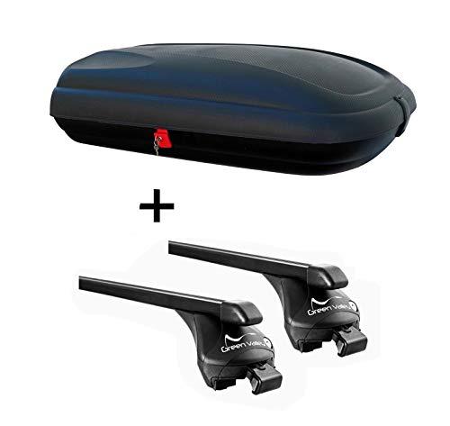 Dachbox VDPBA320 320Ltr carbonlook abschließbar + Relingträger Quick für Opel Astra H (Kombi 5 Türer) 2007-2011 aufl. Reling