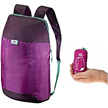 Quechua Ultra compacto plegable 10litros pequeño mochila de senderismo/mochila para Camping al aire libre festivales–práctica bolsa de viaje, Pink / Aubergine / Damson