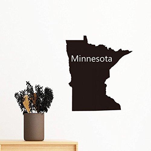 Minnesota der Vereinigten Staaten von Amerika USA Karte Silhouette abnehmbarer Wandtattoo Kunst Aufkleber Wandbild DIY Tapete für Raum Aufkleber 70cm (Vereinigte Staaten-map-kunst)
