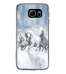 Fuson Designer Back Case Cover for Samsung Galaxy S6 Edge+ :: Samsung Galaxy S6 Edge Plus :: Samsung Galaxy S6 Edge+ G928G :: Samsung Galaxy S6 Edge+ G928F G928T G928A G928I (White Horse Snow White Beautiful horses Snow White Clouds)