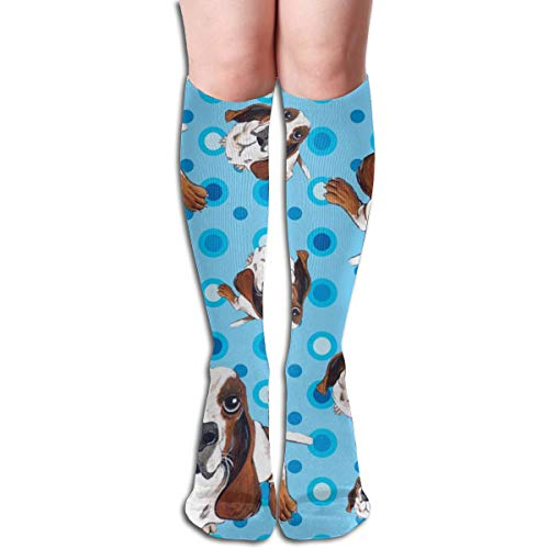 Stocking Basset Hound In Blue Multi Colorful Patterned Knee High Socks 19.6Inchs ()