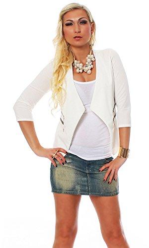 10475 Fashion4Young Damen Kurzjacke Blazer Jäckchen Jacke kurze Bolero-Design verfügbar in 6 Farben (34/36, Weiß)