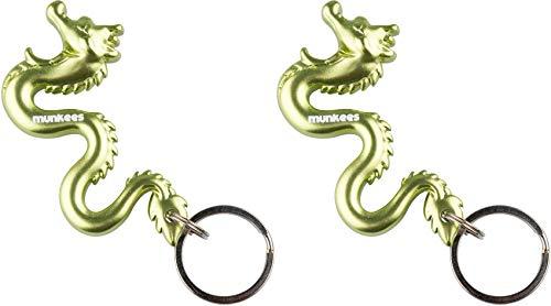 munkees 2 x Schlüsselanhänger Drache 3D, Taschenanhänger, Grün, Doppelpack, 351559 -