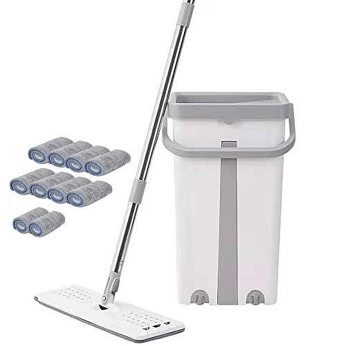 CHEIRS Flat Mop Bucket Set, Bodenwischer Mit Sprühfunktion-Free Handwäsche Flat Mop Teleskopstange Microfaser -mop Set