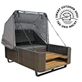 Strandkorbwerk Outdoor Bett liv.be by Ploß - 2in1 Bett und Lounge Sonneninsel (Geflecht)