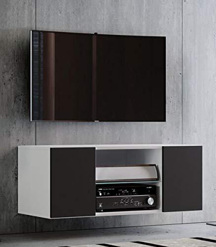 VCM Jusa 95 Meuble TV, Bois, Blanc/Noir, 40 x 95 x 36 cm