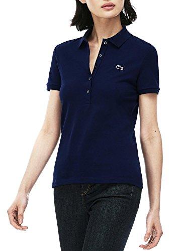 Lacoste PF7845 Klassisches Damen Polo, Polohemd, Polo-Shirt, Kurzarm, Slim Fit mit Stretchmaterialien, für Freizeit und Sport, 94% Baumwolle, 6% Elasthan Navy Blue 166 (Navy Blue 166), EU 48