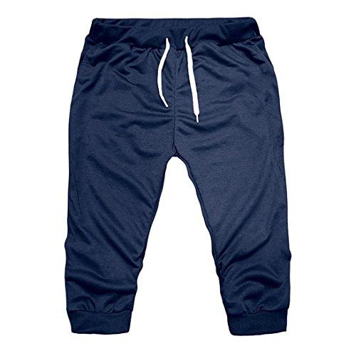 OHQ Shorts DéContractéS pour Hommes De Couleur Unie ÉTé Gym Workout Jogging Pantalon Fit ÉLastique Casual Sportswear Noir Gris Foncé Marine Coton Pas Cher Chino Bain Homme Garcon (Marine, XL)