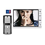 "Amocam 9"" LCD big Screen Wired Video Intercom Door Phone with 8GB SD card Picture Record Taking photo Kit IR Camera DoorPhone Door bell 1-Monitor 1-Camera Doorbell"