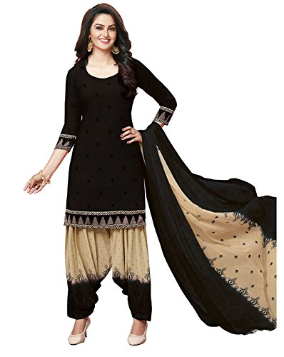 ishin Women's Synthetic Printed Unstitched Anarkali Salwar Suit Dress Material with Dupatta(Drmtlamb-2122_Black and Beige_Free Size)