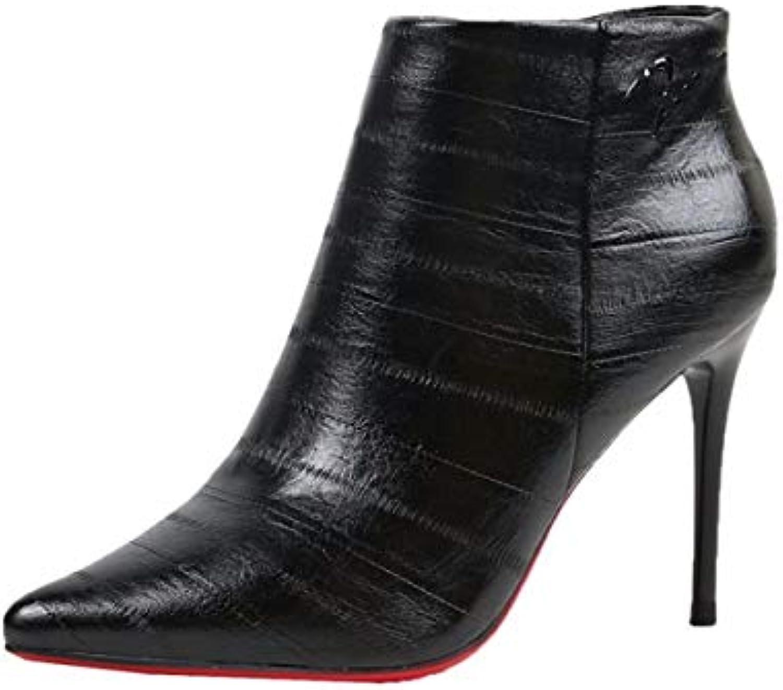 KOKQSX-tacco alto 9cm tallone moda zip stivali femminili ha testa mamma dingxue trentotto nero | Bello e affascinante  | Gentiluomo/Signora Scarpa