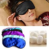 Black : New Fashionable Soft Pure Silk Soft Sleeping Aid Eye Mask Cover Shade Travel Relax Blindfold