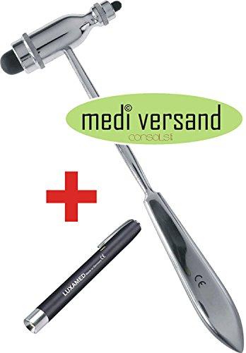 Reflexhammer Perkussionshammer Typ Trömner 25cm + Hochwertige Diagnostikleuchte Luxamed schwarz