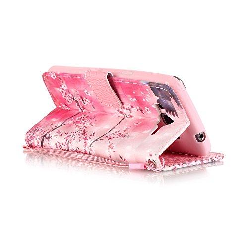 Galaxy Grand Prime Hülle, Tasche Ledertasche Flip Beutel Haut Slim Fit Bumper Schutz Magnetisch Schließung Stehening Soft SchutzHülle Weich Silikon Cover Case Schale für Samsung Galaxy Grand Prime G53 Kirsche