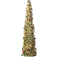 ApisNest 5ft Collapsible Artificial Tinsel Christmas Trees with Stand Reusable for Christmas Trees,Party,Next Year,Wedding, Seasonal Home Décor & Party (Gold)