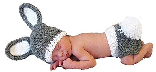 Neugeborene Baby Girl Boy Crochet Knit Kostüm Foto Fotografie Prop Hüte Outfits Gr. onesize, Grey & White Rabbit