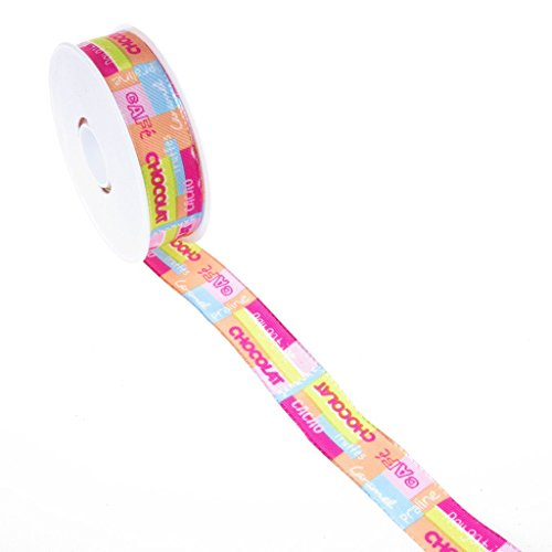 Taftband - 25mm - 20m - Colorblock - blau, gruen, pink und orange Colorblock Band