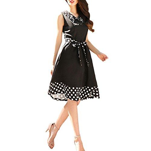 Meijunter Damen Ärmellos Puppe-Kragen Kleid Polka Dot Schlanke Taille Feingürtel Abendkleid Schwarz
