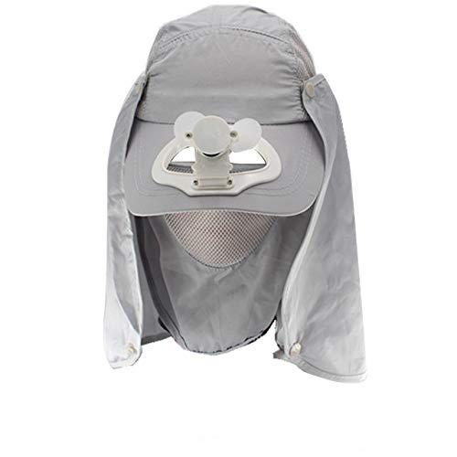 Nncande Unisex-Erwachsene Sommer Baseball Cap Outdoor Lüfterhaube Mütze Angeln Golf Hut USB Fan Krempe Ventilator Kappe Angelmütze (4207GY)